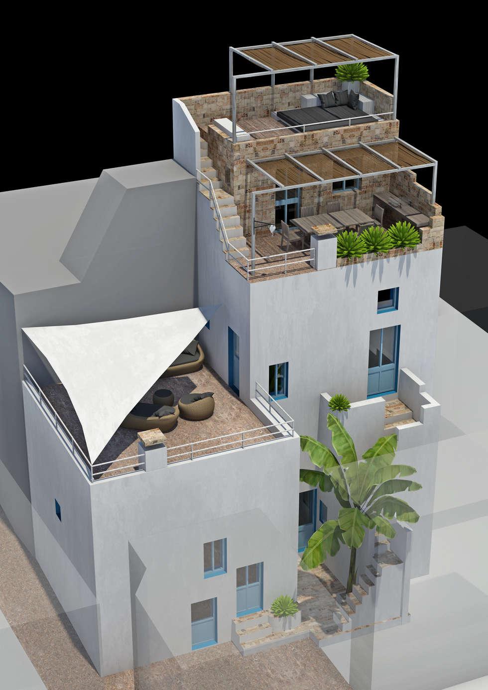 Render Esterno casa Puglia: Case in stile in stile Mediterraneo di La Fucina dell'Architettura