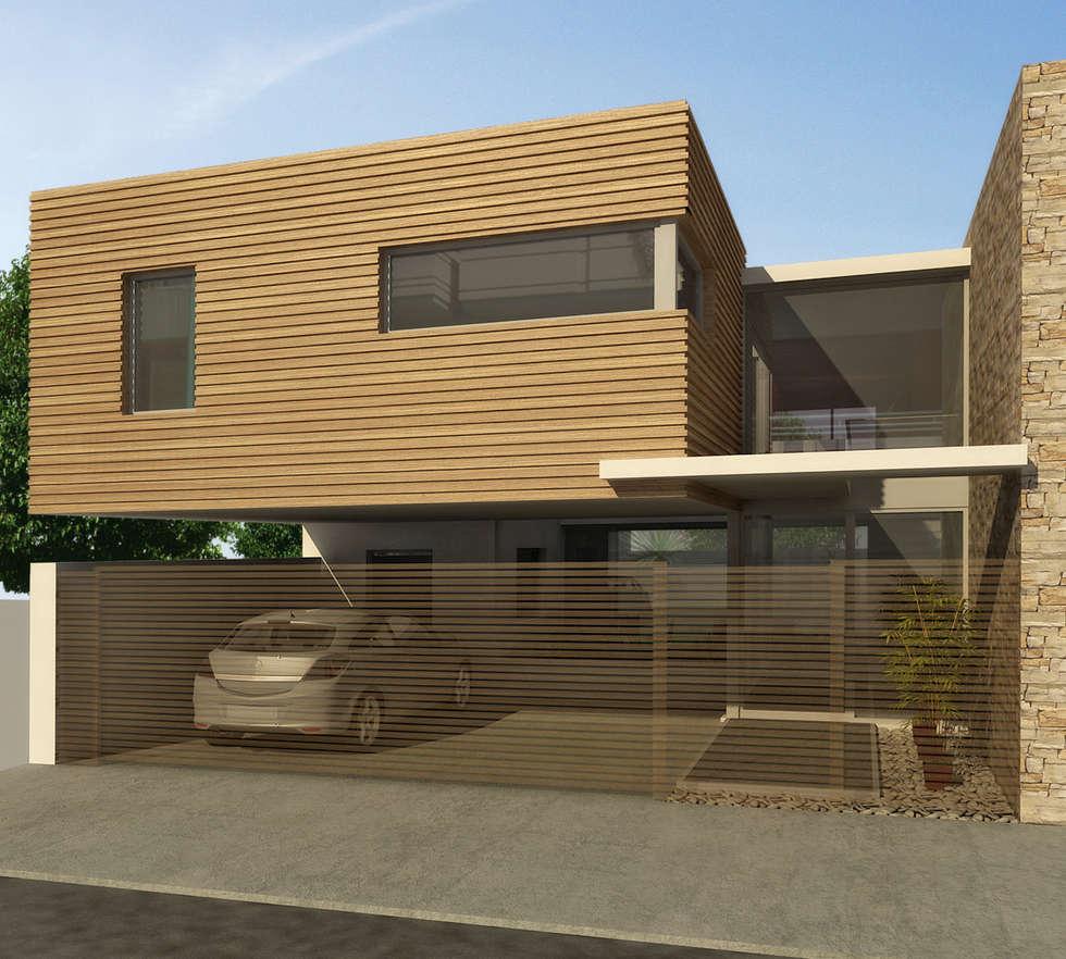 Fachada de vivienda unifamiliar: Casas de estilo moderno por crearinteriores
