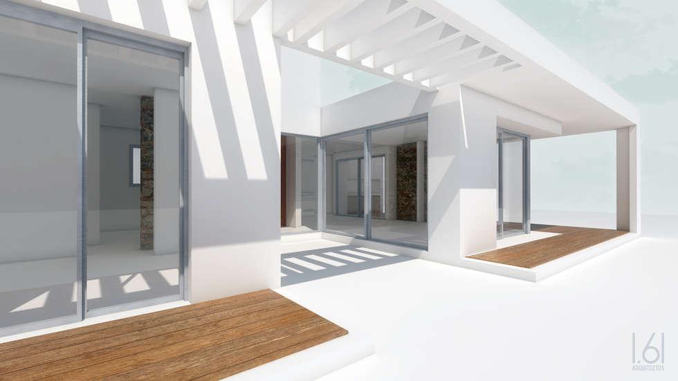 patio interno / galerias: Casas de estilo minimalista por 1.61 Arquitectos
