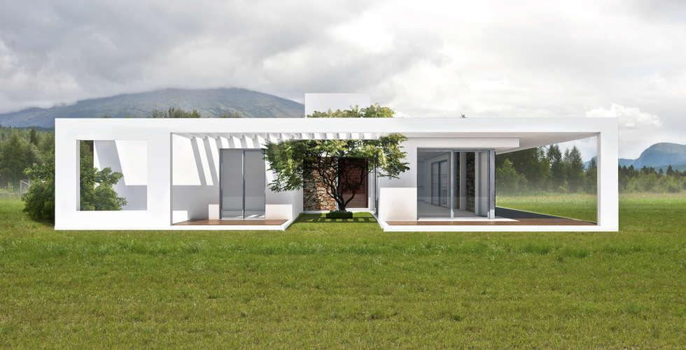 fachada norte: Casas de estilo minimalista por 1.61 Arquitectos