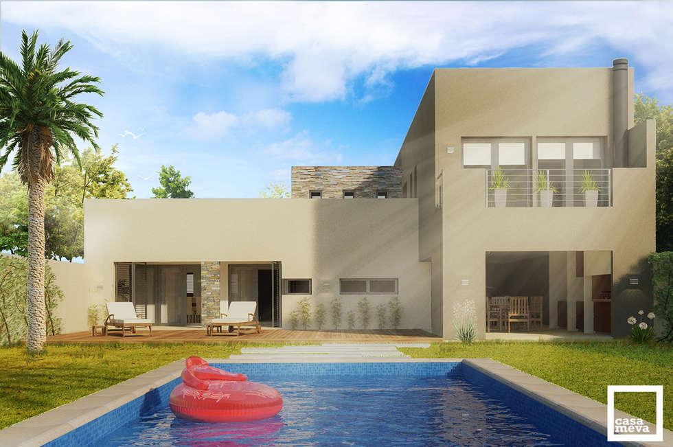 Después l Fachada Posterior: Casas de estilo minimalista por Casa Meva Estudio