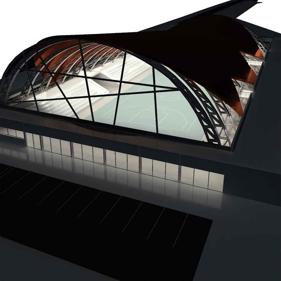 Perspectiva Frente: Gimnasios de estilo moderno por GPA studio