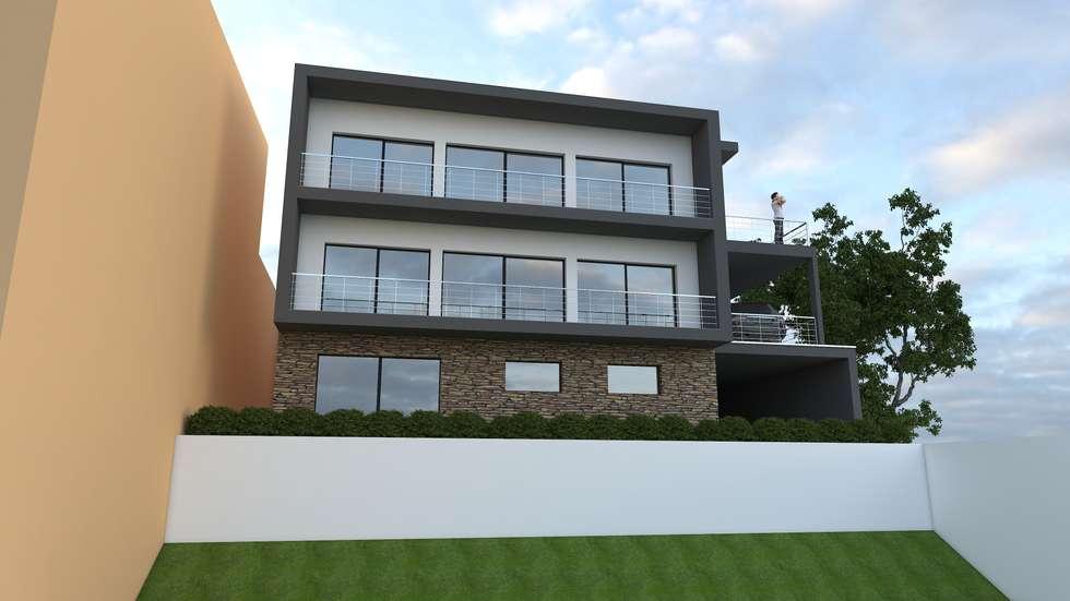 Habitação Bifamiliar: Casas modernas por Marilia Pinto, Arquitetura Engenharia & Construção