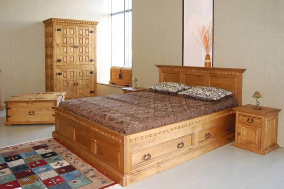 bett hacienda pinie massiv holz moebel schlafzimmer doppelbett koloniale schlafzimmer von. Black Bedroom Furniture Sets. Home Design Ideas
