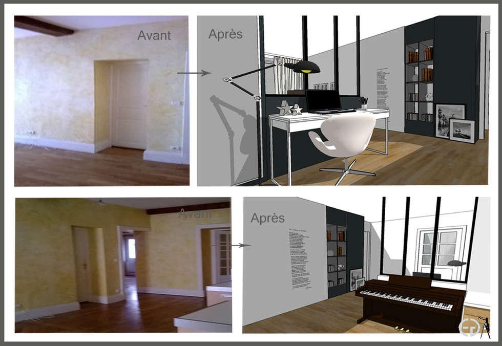 Rénovation d'une entrée: Couloir et hall d'entrée de style  par Elizabeth Guillet Boutique