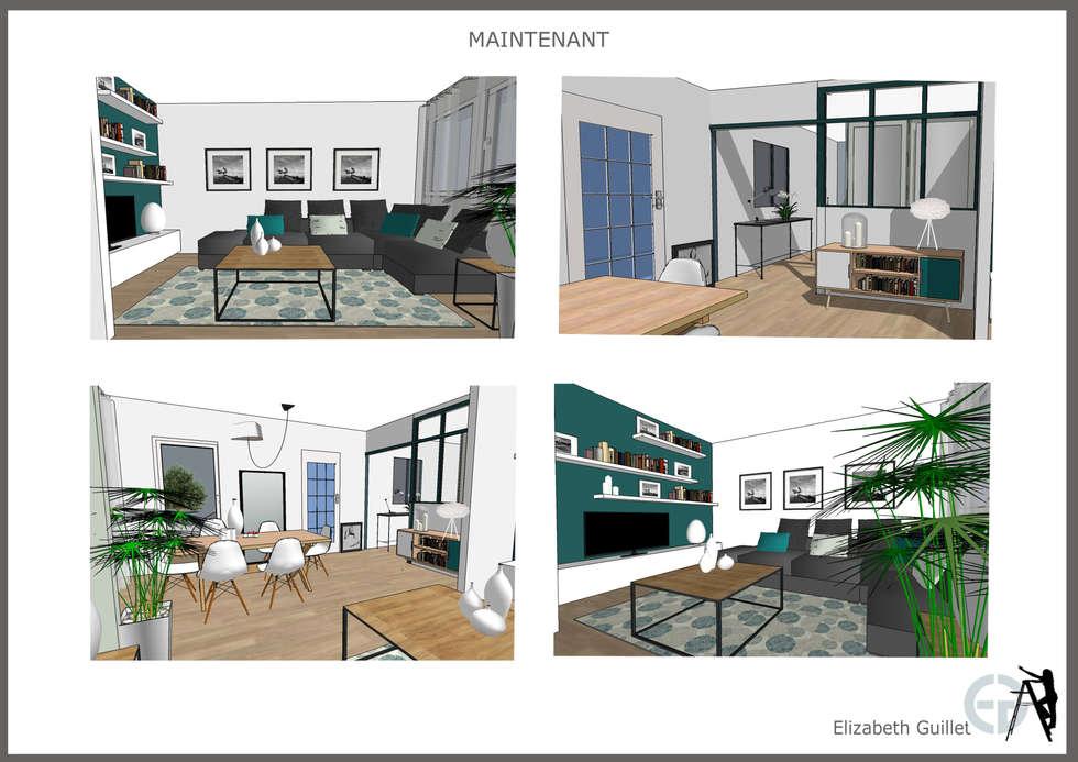 rénovation d'un espace salon repas: Salon de style de style Scandinave par Elizabeth Guillet Boutique