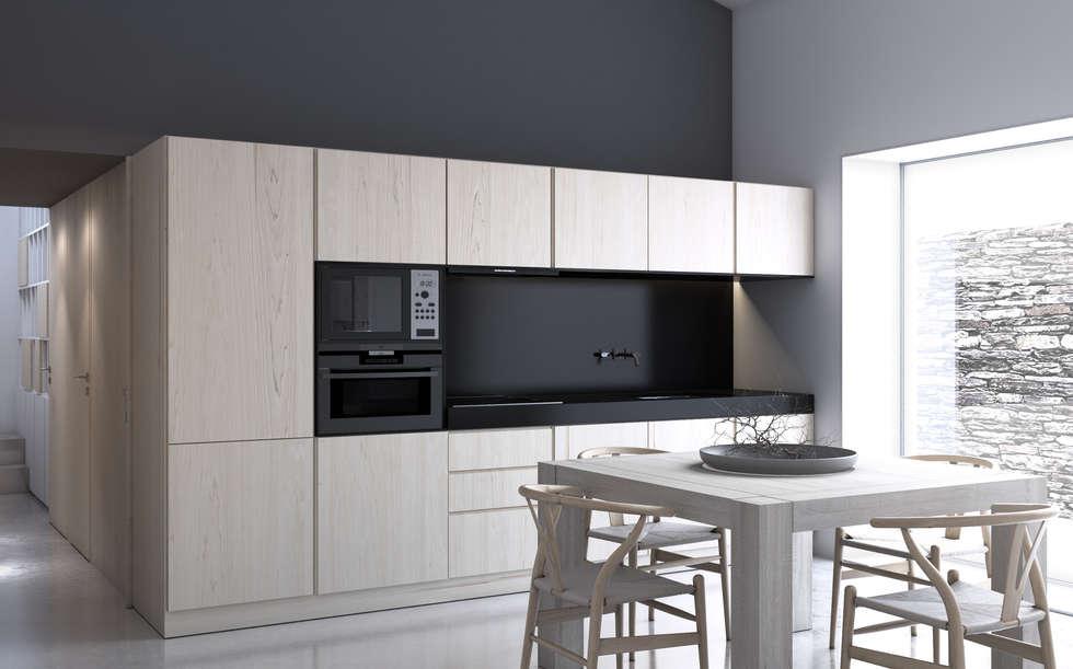 Volume funcional da Cozinha: Cozinhas minimalistas por Varq.