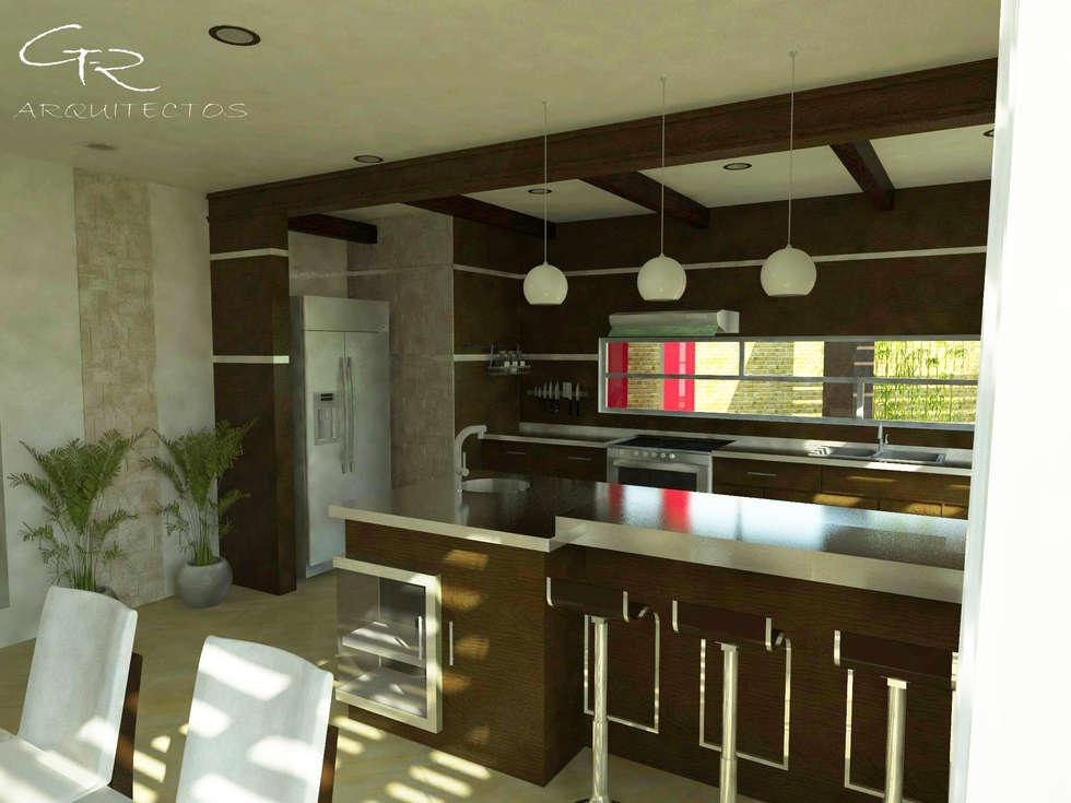 House Paraíso: Cocinas de estilo moderno por GT-R Arquitectos