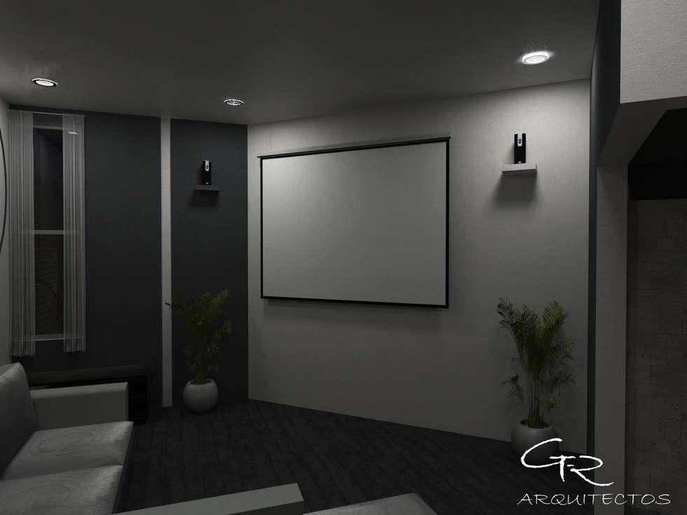 House Paraíso: Salas multimedia de estilo moderno por GT-R Arquitectos