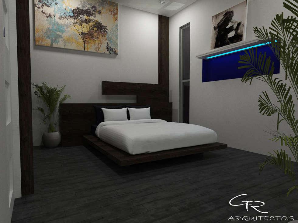 House Paraíso: Recámaras de estilo moderno por GT-R Arquitectos