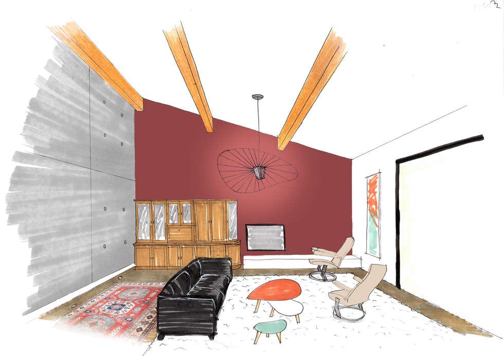 Salon Marsala: Salon de style de style Classique par Mint Design
