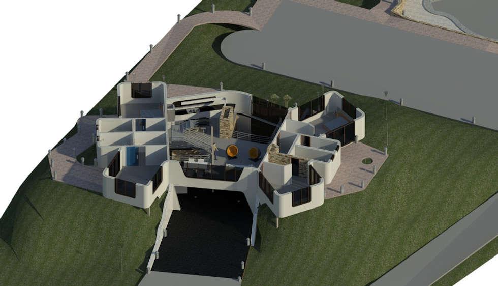 Sección Horizontal de Planta Baja: Oficinas de estilo minimalista por Bioarke Construcciones C.A.