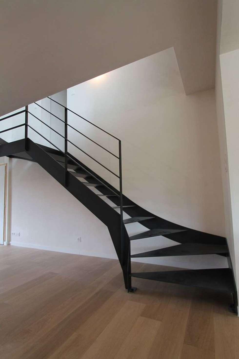 Escalier acier: Couloir et hall d'entrée de style  par Passion Bois