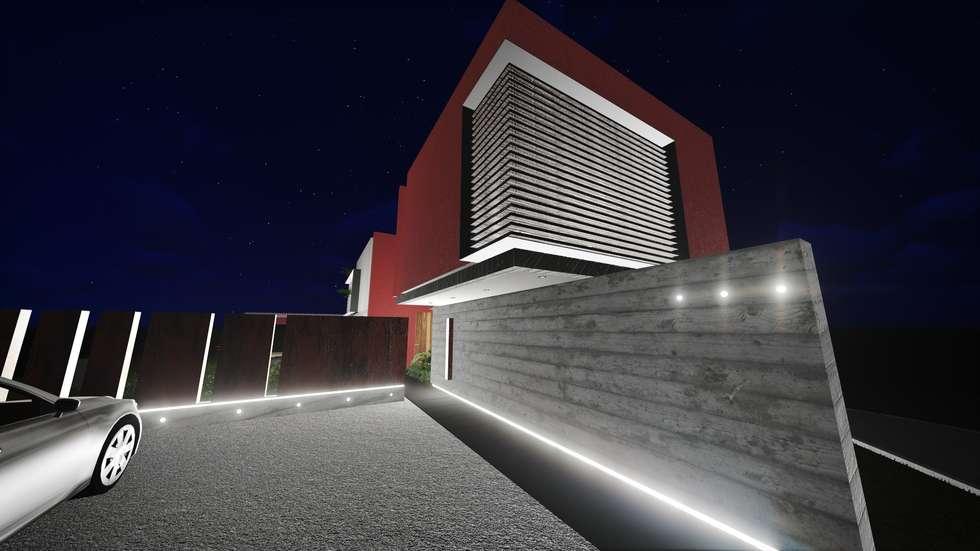 Acceso desde estacionamiento: Casas de estilo moderno por Estudio Mutuo