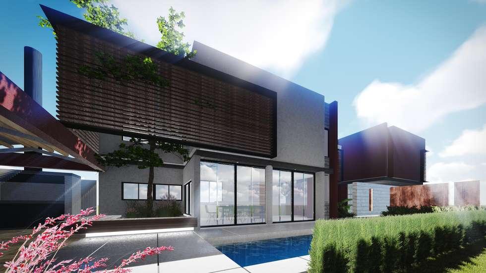 Patio principal: Casas de estilo moderno por Estudio Mutuo