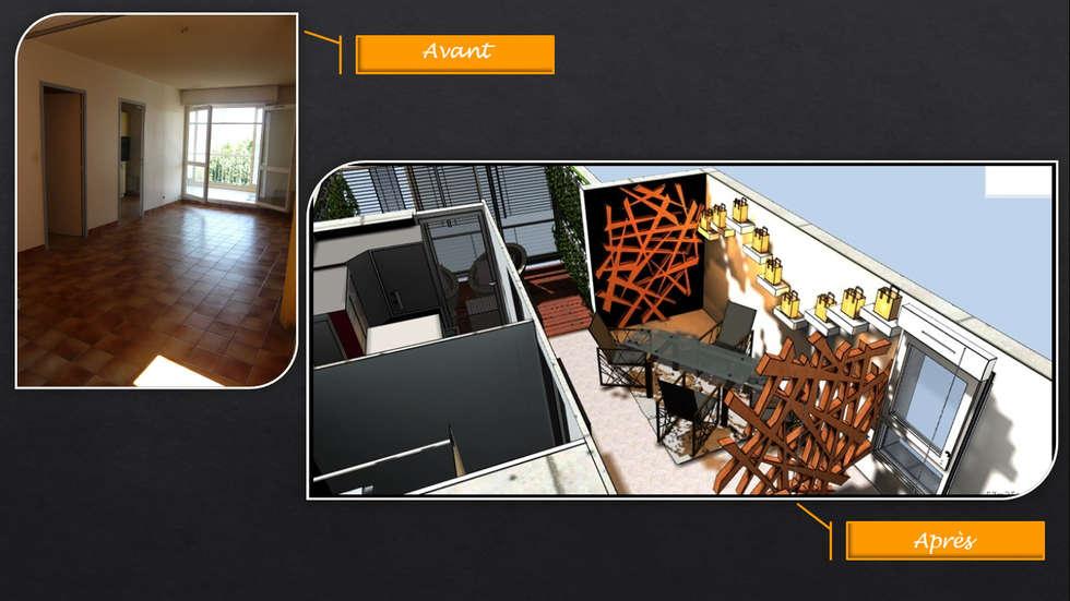 Avant-Après (simulation / particulier): Salle à manger de style de style Moderne par JC Créations d'intérieurs