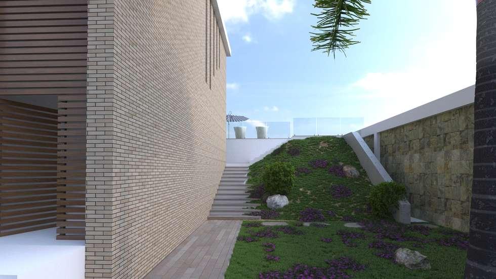 Zona ajardinada exterior: Jardines de estilo moderno por Area5 arquitectura SAS