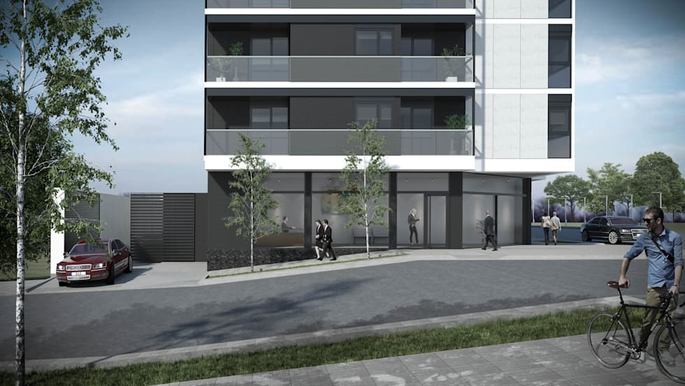 Ingreso a cocheras Gemma 2: Casas de estilo moderno por Akros S.R.L.