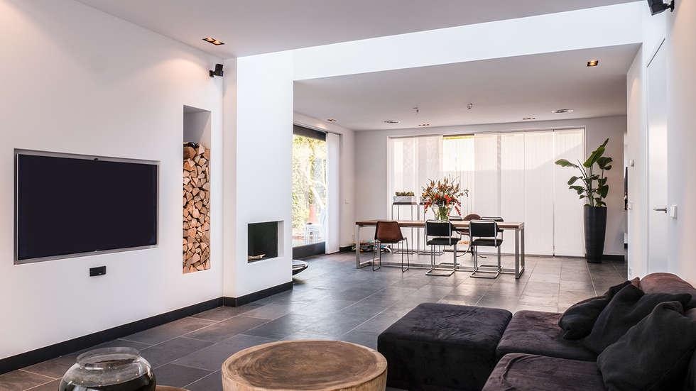 Modern woonkamer keuken - Moderne eetkamer en woonkamer ...
