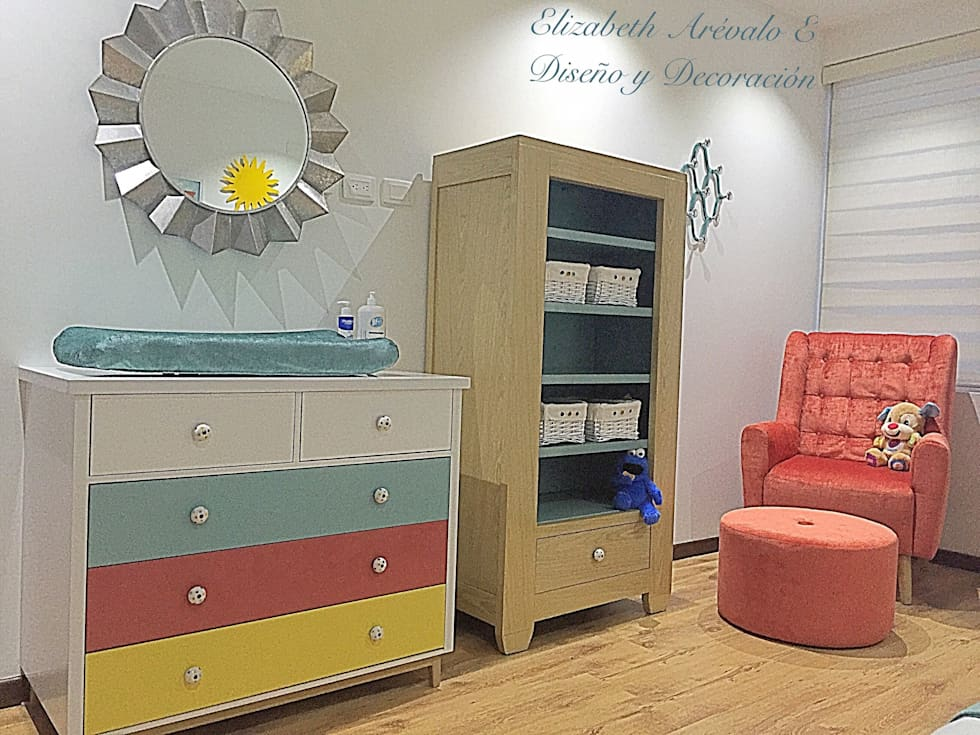Habitación Bebe casa campestre: Habitaciones infantiles de estilo  por ea interiorismo