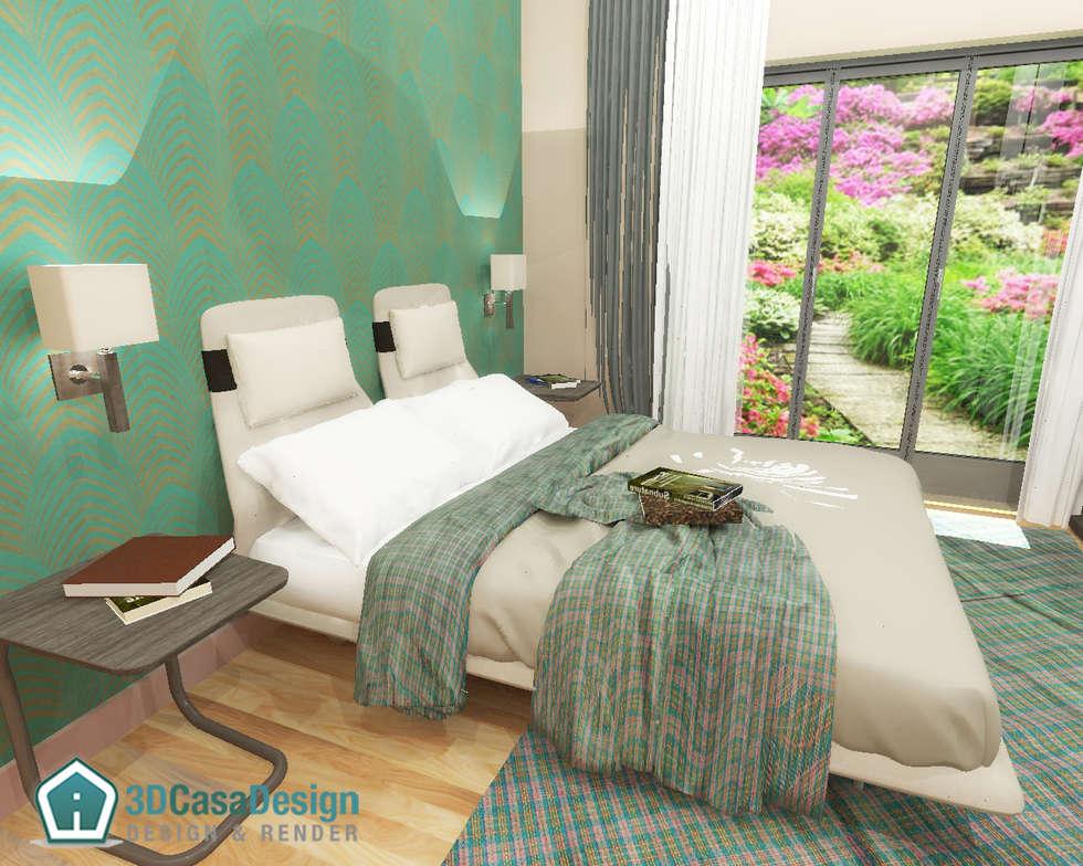 3D Casa Design - camera matrimoniale: Camera da letto in stile in stile Moderno di 3d Casa Design