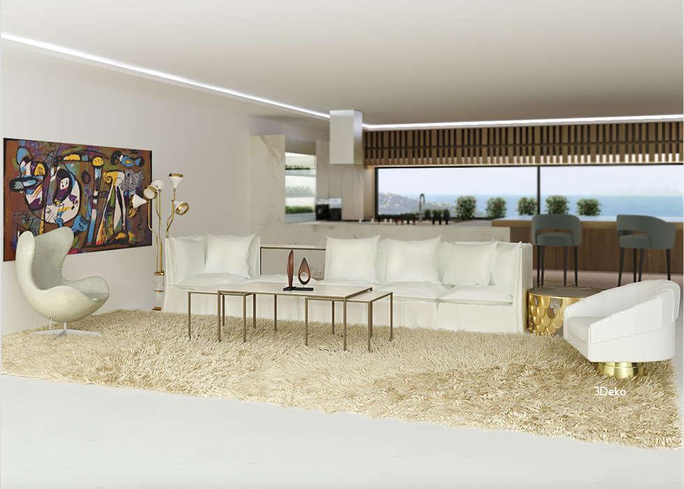 Salón en 3D: Salas de estilo moderno por 3Deko