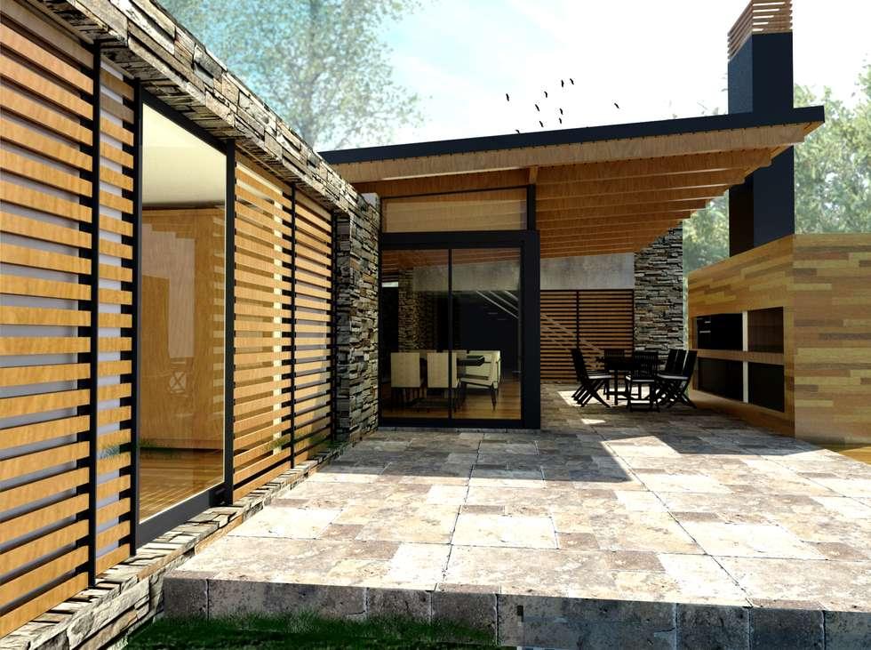 CASA DE PIEDRA - Autores: Mauricio Morra Arq., Diego Figueroa Arq.: Casas de estilo moderno por Mauricio Morra Arquitectos