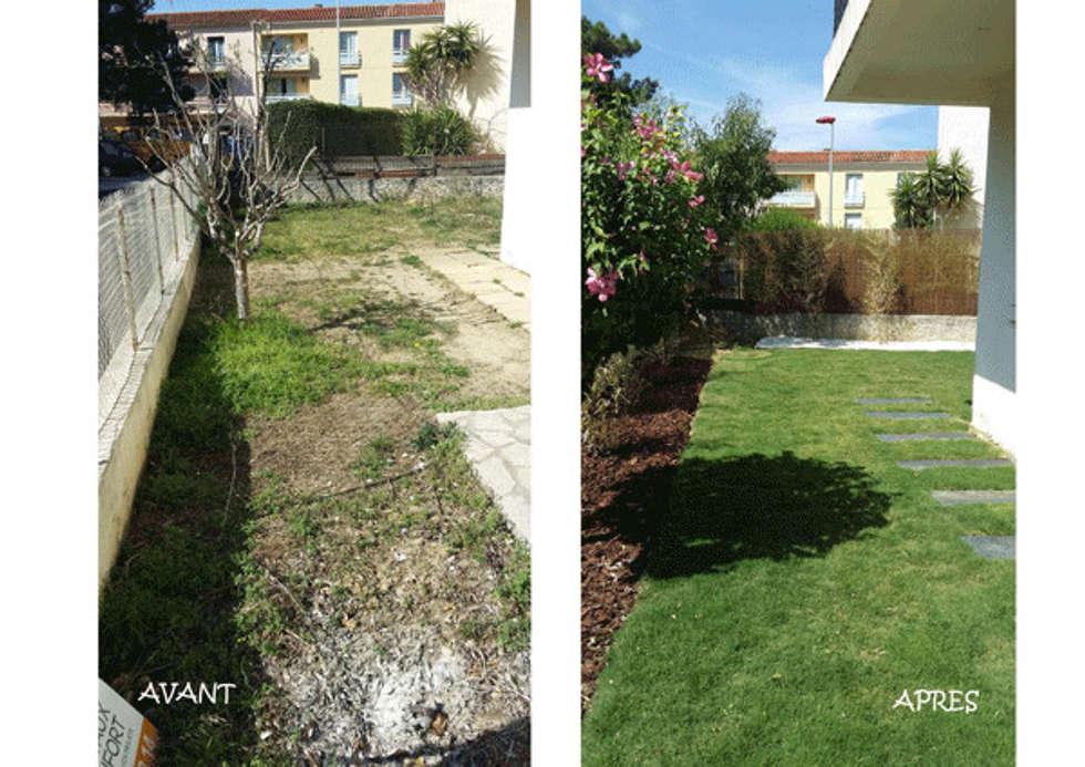 avant et après !: Jardin de style de style Asiatique par Le Jardin Qui Bouge