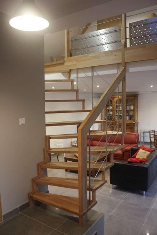 Escalier SENZU : bien-être: Couloir et hall d'entrée de style  par Passion Bois