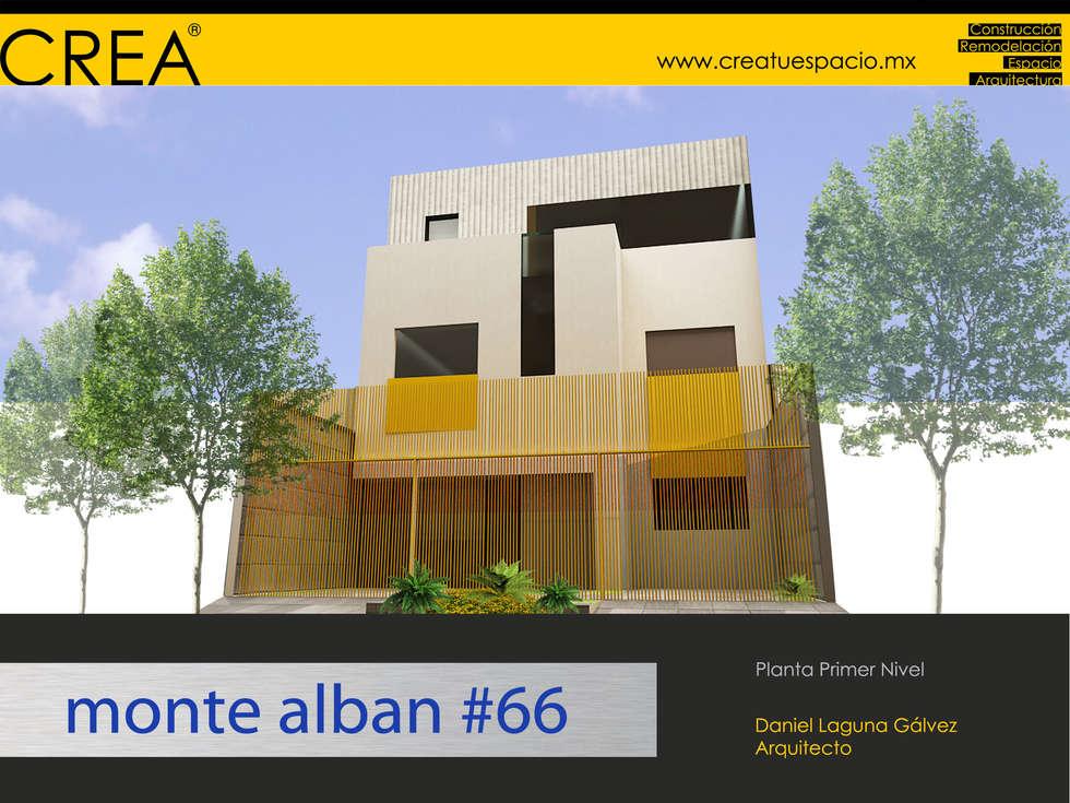 Fachada: Estudios y oficinas de estilo moderno por CREATUESPACIO.MX