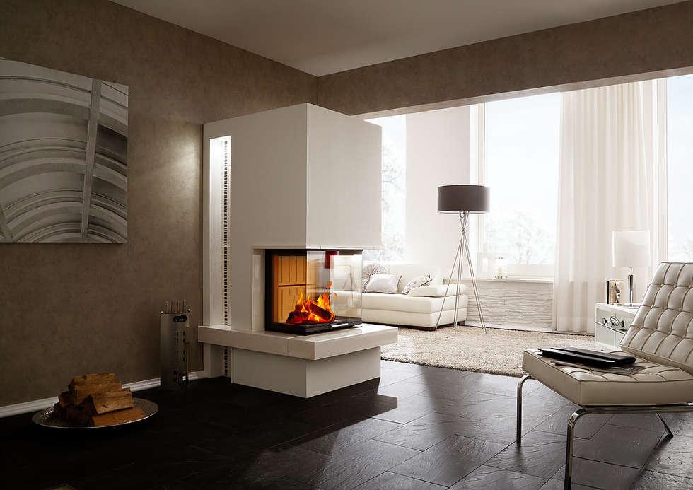 Moderner Kamin Ganz In Weiß: Moderne Wohnzimmer Von Zerresquadrat GmbH
