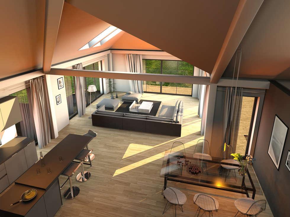 K MÄLEON Hybridhaus // Wohn  Und Essbereich: Moderne Wohnzimmer Von K