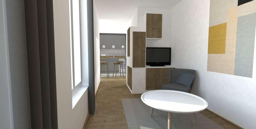 décoration scandinave: Salon de style de style Scandinave par Ophélie Dohy architecte d'intérieur