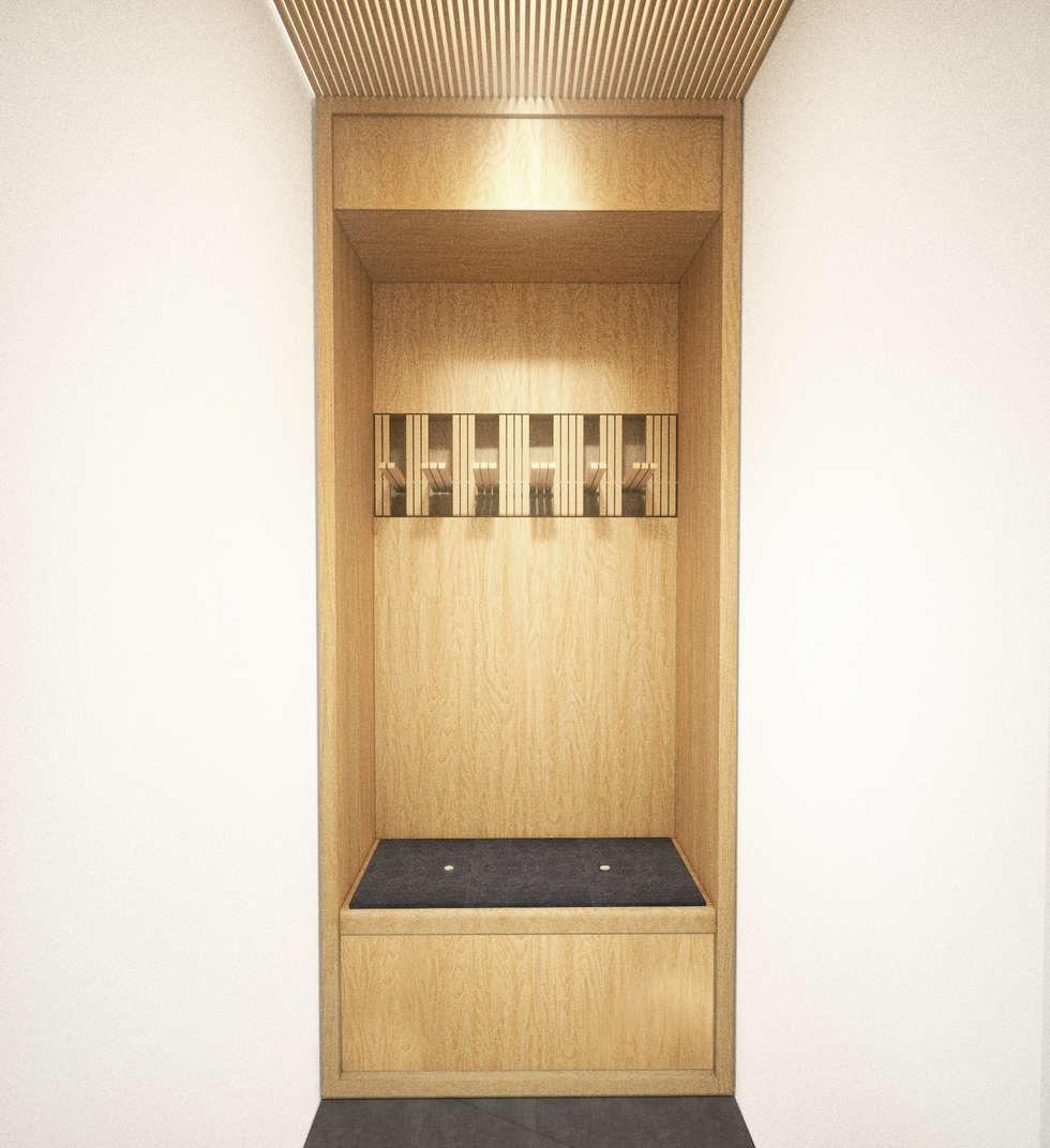 Cabine du vestiaire masculin du centre de yoga: Bureaux de style  par Belle Ville Atelier d'Architecture