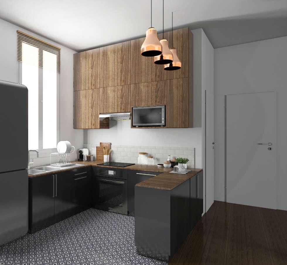 """Espace à vivre """"façon usine des années 70"""": Cuisine de style de stile Rural par Sandia Design"""