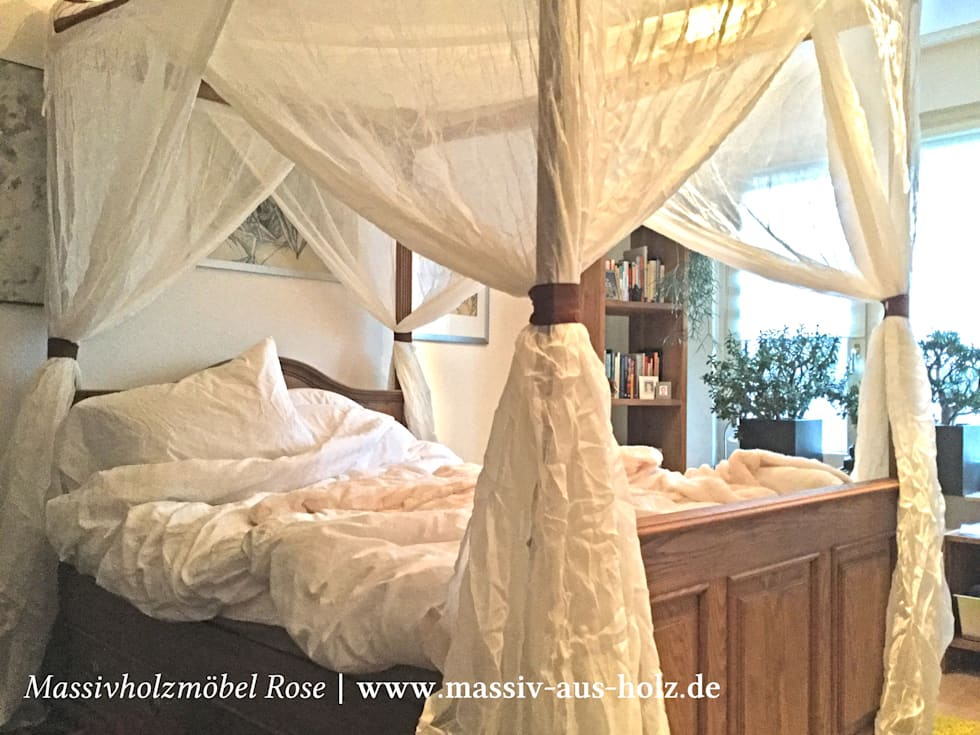 Himmelbett Aus Massivem Holz Mit Baldachin: Rustikale Schlafzimmer Von  Massiv Aus Holz