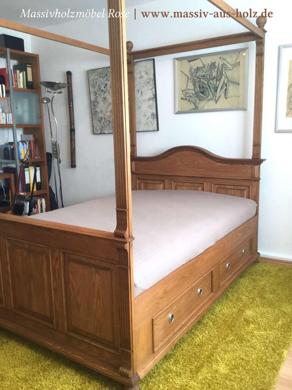 Bett Mit Baldachin Und Schubladen: Rustikale Schlafzimmer Von Massiv Aus  Holz