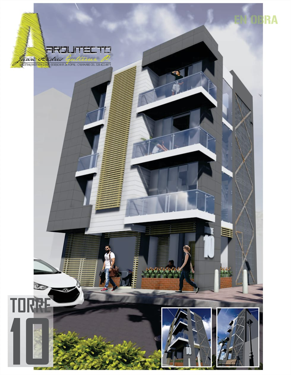 EDIFICIO TORRE 10: Casas de estilo moderno por ARQUITECTO JUAN ANDRES GUTIERREZ PEREZ