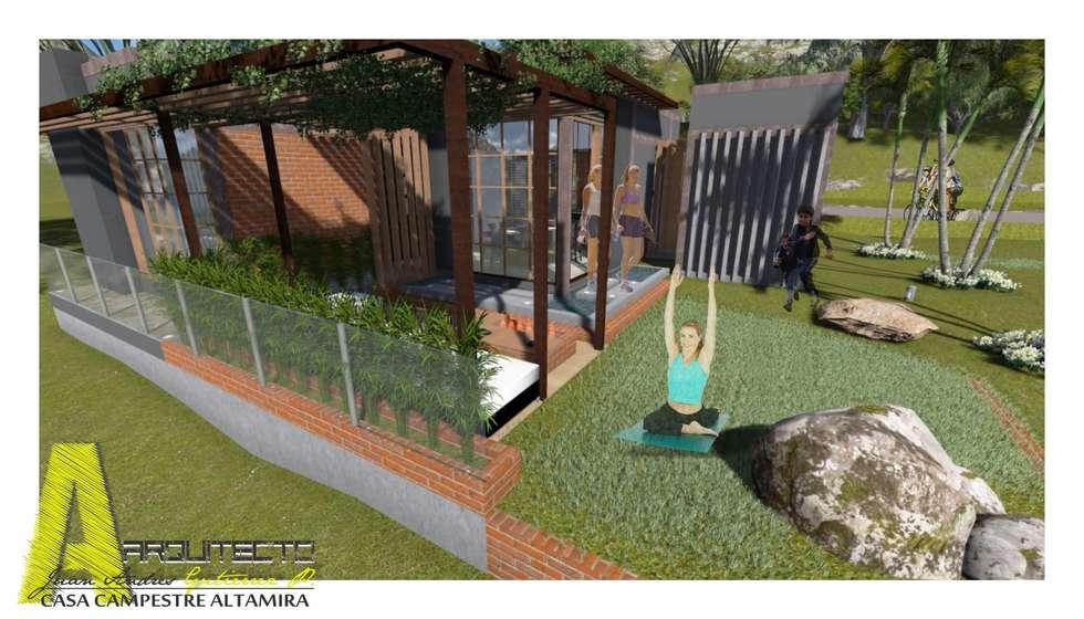 TERRAZA Y MIRADOR : Jardines de estilo rústico por ARQUITECTO JUAN ANDRES GUTIERREZ PEREZ