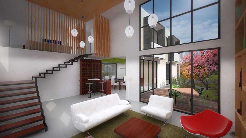 Estancias. CASA C+M: Salas de estilo moderno por Molcajete Arquitectura Interiores Diseño