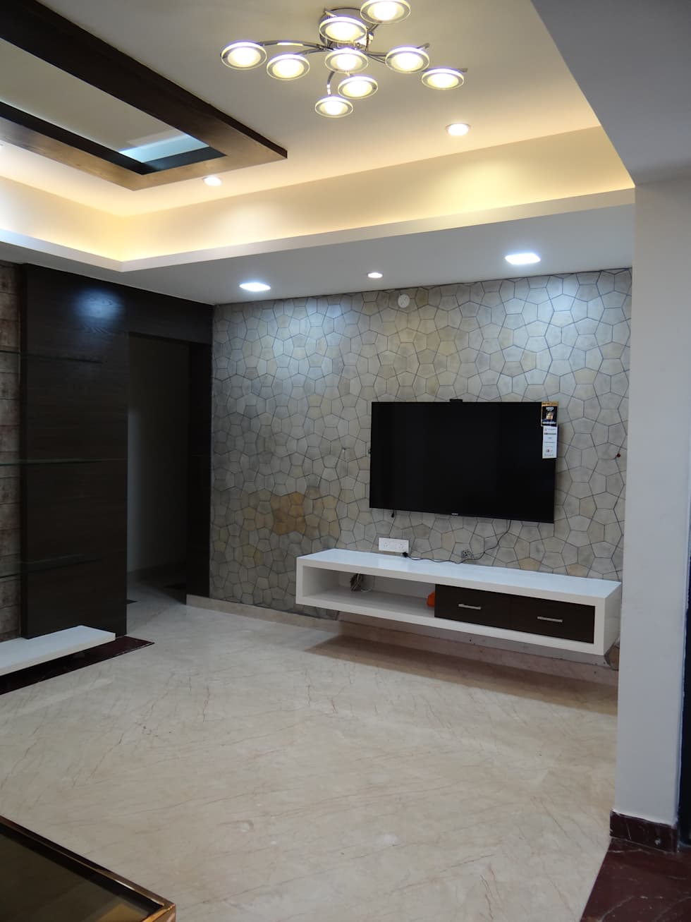 Living Room Unit Designs: Tv Wall Cabinet With Stone Cladding Background: Modern