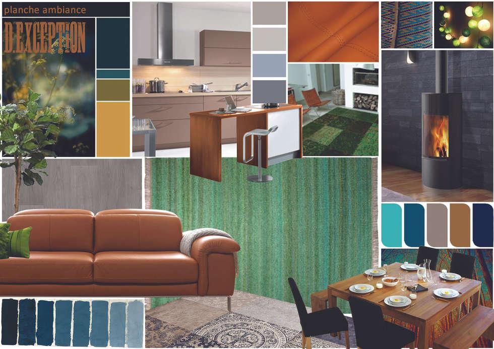planche ambiance décoration et aménagement pièce à vivre Frontonas: Cuisine de style de style Classique par D-Exception