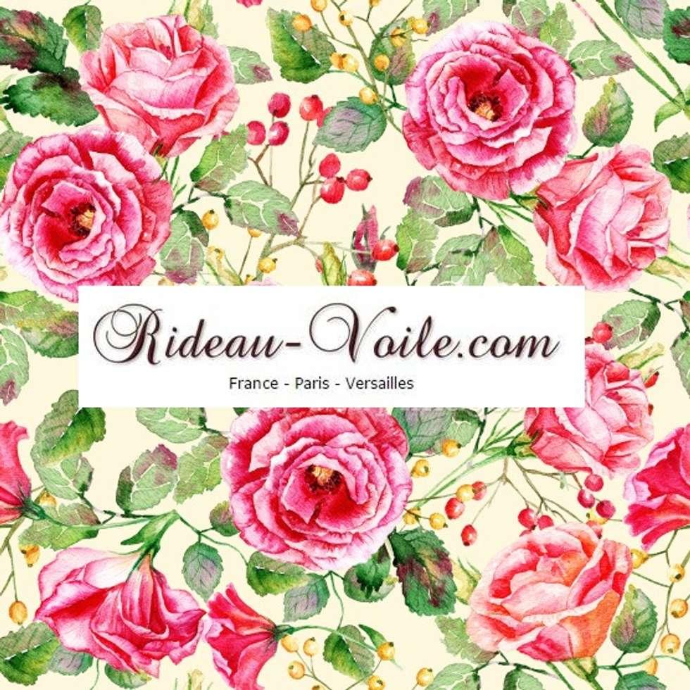 rideau et double rideaux fleurs rose et feuilles vertes tissus ameublement de d coration d. Black Bedroom Furniture Sets. Home Design Ideas