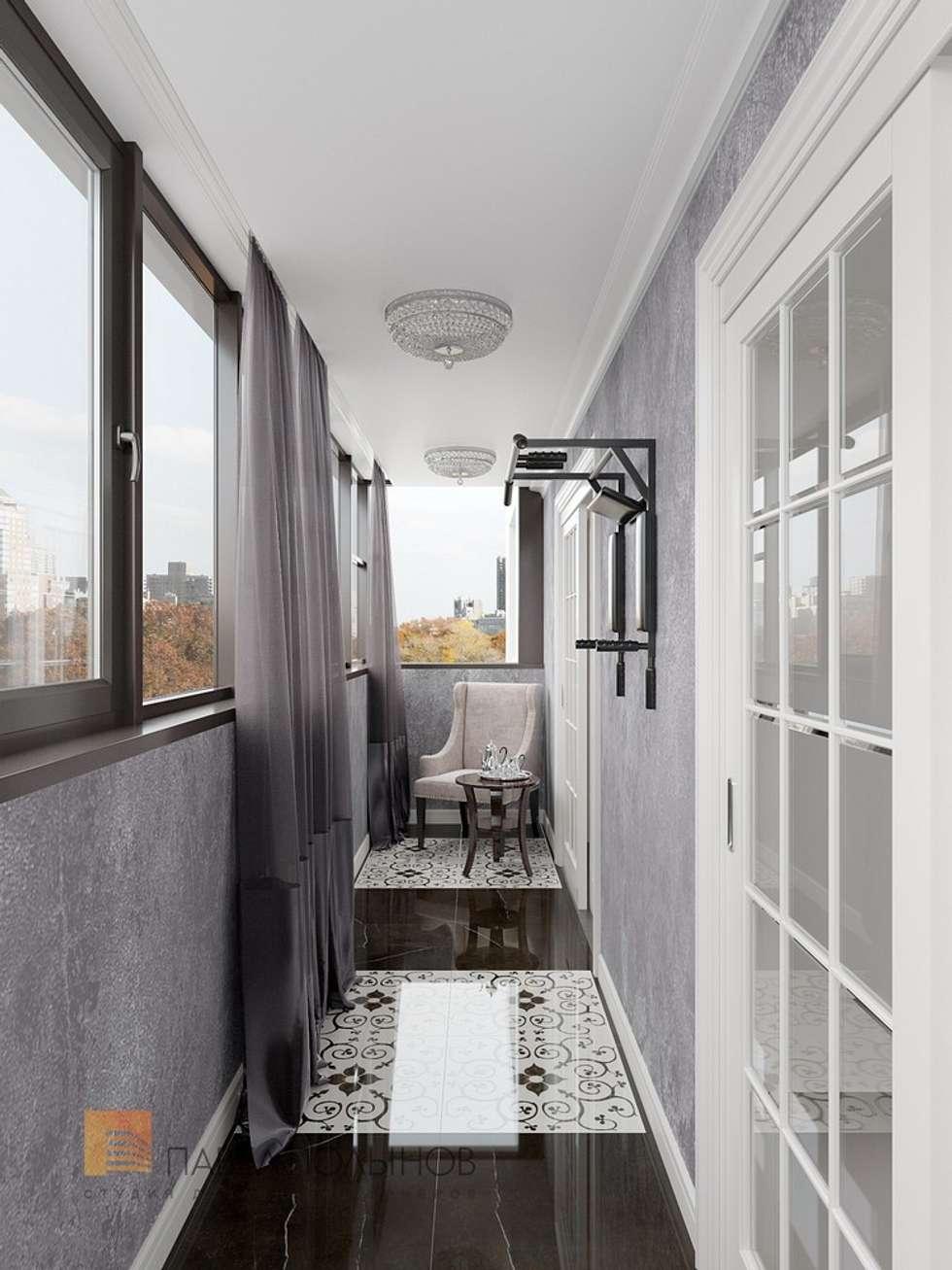 """Дизайн лоджии в проекте """"квартира в стиле современной класси."""