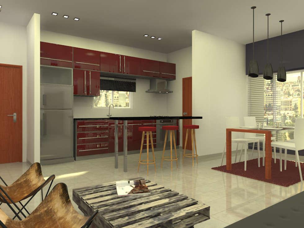 Cocina Integrada.: Cocinas de estilo moderno por Arquitecto Ariel Ramírez
