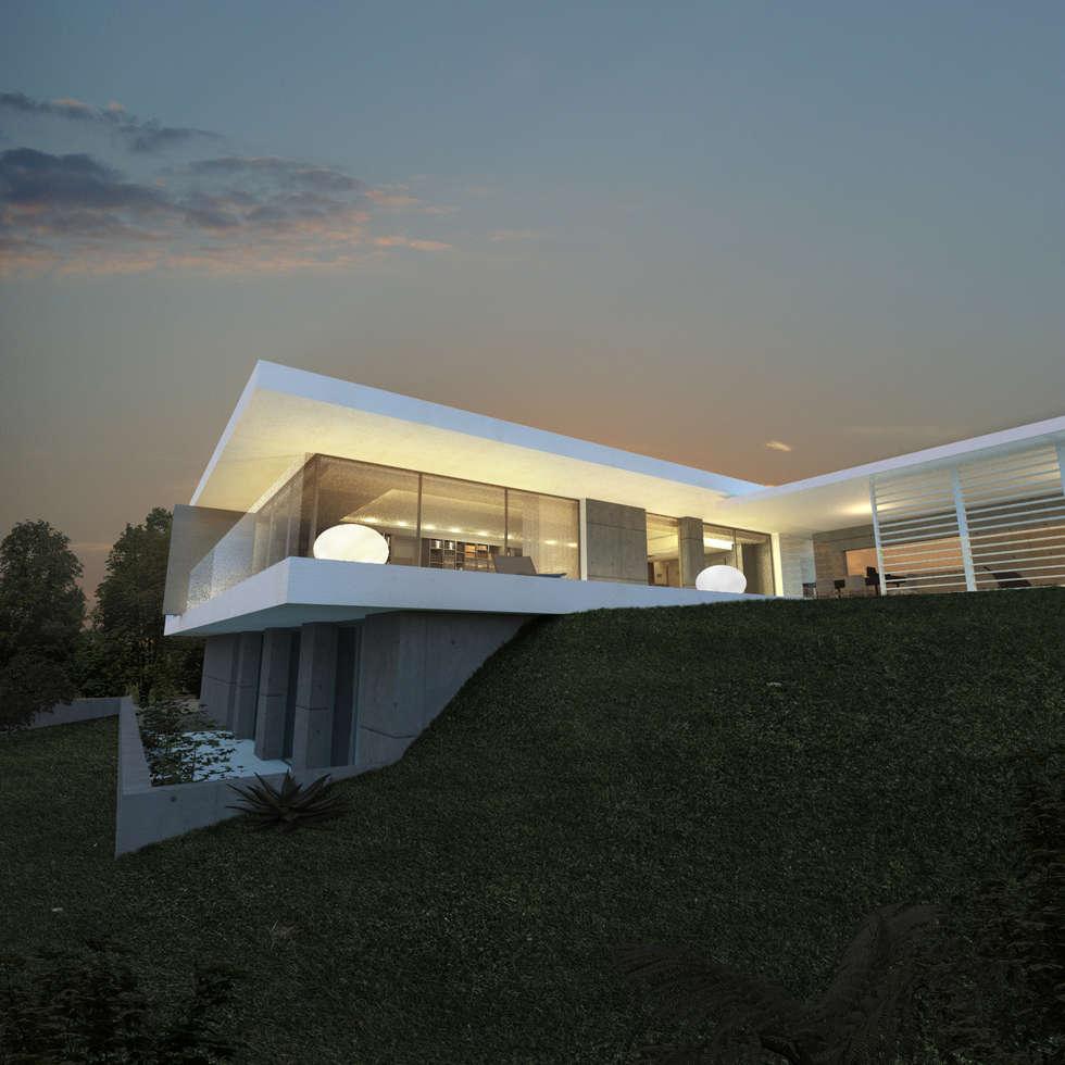 Maison contemporaine MA à Saint Cyr au Mont d'Or: Maisons de style de style Moderne par ARRIVETZ & BELLE