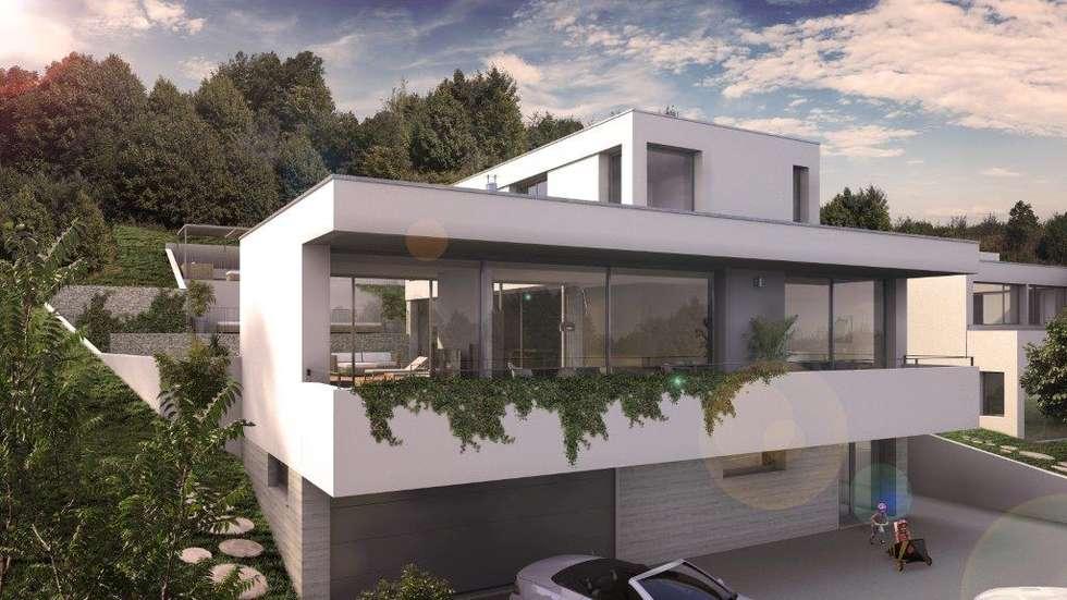 Maison d'architecte neuve avec terrain et piscine près de Lyon: Maisons de style de style Moderne par Groupe SOBÖ
