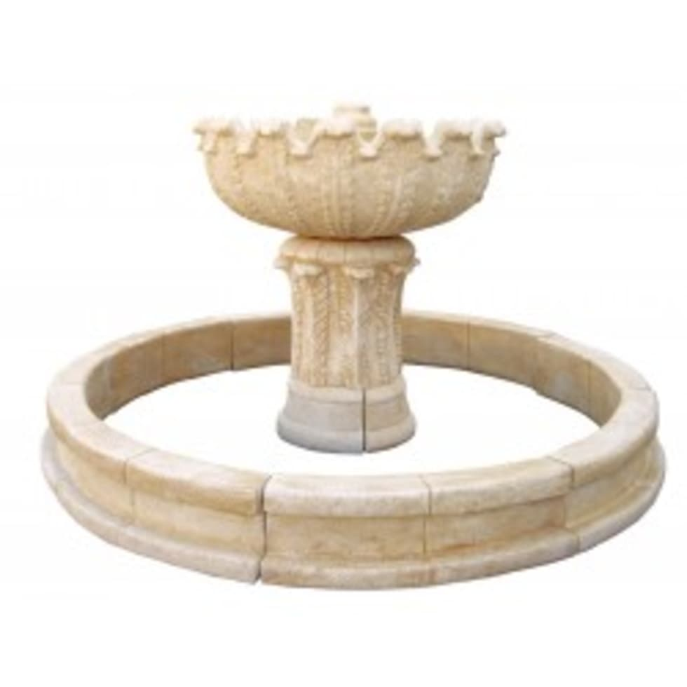Fuente Pequeña Con Estanque NIÁGARA: Jardín De Estilo De Piedra Artificial  Balaustres Martinez