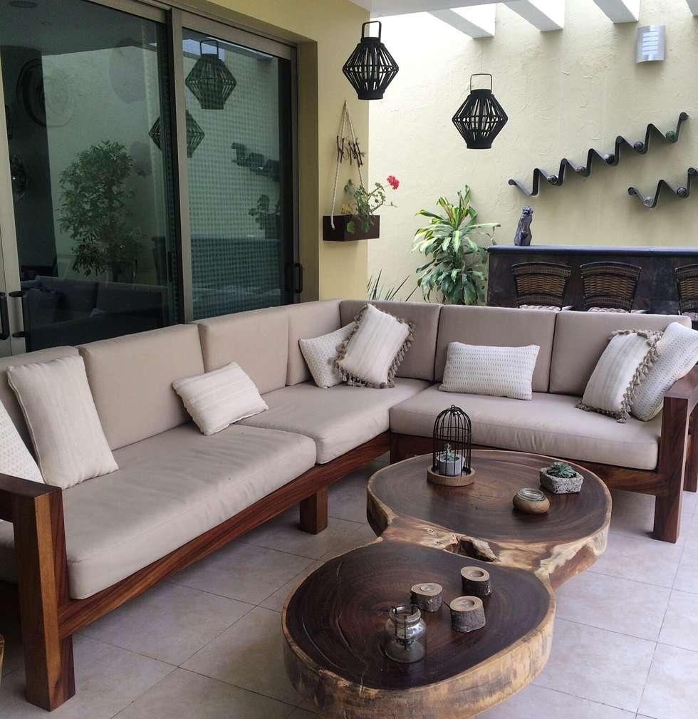 Mueble de madera de parota para terraza hogar de estilo for Muebles para terraza baratos
