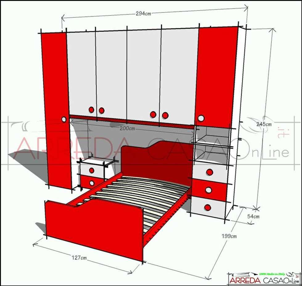 Cameretta rossa e bianca soluzione su misura camera da letto in stile in stile moderno di - Camera da letto rossa e bianca ...